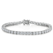 "JOOLS by Jenny Brown ® Silver Bracelet ""Tennis "" Style Featuring 4mm Brilliant Cut Cubic Zirconia Stones With A Snapclasp"