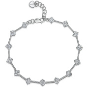 JOOLS by Jenny Brown ® Silver Bracelet Featuring Silver Bars With 14 Brilliant Cut Cubic Zirconia Stones
