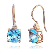 Dangle 14K Rose Gold Swiss Blue Cushion Topaz Earrings Natural 0.07 Ct Diamonds