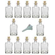 Viva Haushaltswaren 12 Mini Apothecary Bottle 40 ml Glass Bottle with Cork 40x22 mm And a Funnel