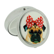 Silver- Plated Bulldog With a Red Bow Compact Pill Box SC1400