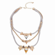 Three Layer of Cotton Rope with Gold Plated Alloy and Rhinestone Charm Necklace