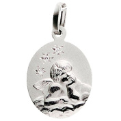 Basic 22201Silver Children's Guardian Angel Pendant - 925 Sterling Silver-White Zirconia