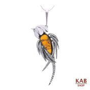 BALTIC AMBER STERLING SILVER 925 BEAUTY PENDANT BIG PARROT+CHAIN, KAB-256P.C1