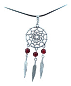 Adjustable 2mm Wax Cord Necklace with a 52mm Dream-catcher With Red Beads