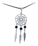 Adjustable 2mm Wax Cord Necklace with a 52mm Dream-catcher With Black Beads