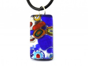 Murano Glass Pendant - Millefiori on Silver Leaf, 3cm x 1.5cm with Leather Necklace, Certificate & Gift Box