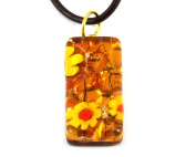 Murano Glass Pendant - Millefiori on Gold Leaf, 3cm x 1.5cm with Leather Necklace, Certificate & Gift Box