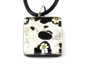 Murano Glass Pendant - Millefiori on Silver Leaf, 2cm x 2cm with Leather Necklace, Certificate & Gift Box