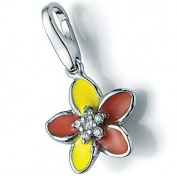 890-811339 Charms Silver Charm with orange Flower Design Yellow