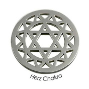 Quoins Chakra Qmow-04l - E Stainless Steel Ladies Heart Chakra Coin