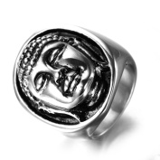 LAMUCH Vintage Jewellery Stainless Steel Buddha Rings For Mens 2Colors Available Choose