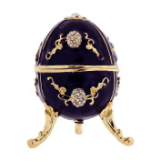 Purple Trinket Faberge-Style Oval Egg In Branded Box