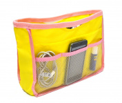 Small Storage Organiser Pouch Bag pocket inside for purse Travel Bag Yellow