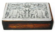 Hand Made Wood & Hand Cast Metal African Box with Elephant design 15 x 9 cm Jewellery Box Trinket Box Storage Box