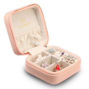 Vlando Small Faux Leather Travel Jewellery Box Organiser Display Storage Case for Rings Earrings Necklace