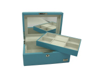 "Cordays Jewellery Box ""Premium Quality"" Hand Crafted with Wood covered with Turquoise Smooth Soft Leatherette with Full Width Mirror CDL-10049A"