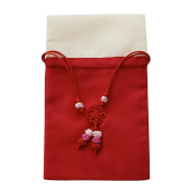 Silk jewellery pouch, travel jewellery bag with drawstring, hand knotted decoration. Red & Beige