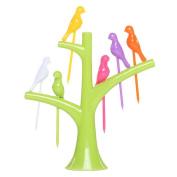 Creative Party Fruit Forks Salad Forks Dessert Forks Tree and Birds Green