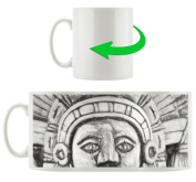 Maya sculpture black, Motif cup in white ceramic 300ml, Great gift idea for any occasion. Your new favourite mug for coffee, tea and hot drinks.