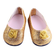 Beautiful Golden Small Flower Flats Shoes for American Girl Doll Clothes