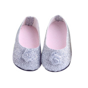 Beautiful Silver Small Flower Flats Shoes for American Girl Doll Clothes