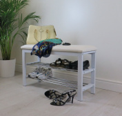 ASPECT 3-Tier Storage Shoe Rack/Bench With Seat Cushion, Steel, White, 80 Length x 30 Width x 49 Height cm