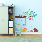 Decowall, DW-1410, Large Branch & Owls Wall Stickers