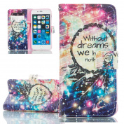 iPhone 6 Plus Case, iPhone 6S Plus Cover, ISAKEN Colourful Pattern Pu Leather Magnetic Flip Wallet Case, Pattern Print Printing Drawing Cell Phone Apple iPhone 6(14cm ) Case Mobile Cover Protect Skin Stand Case Cover - feather dream glitter