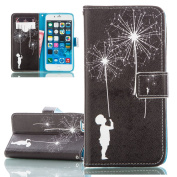 iPhone 6 Plus Case, iPhone 6S Plus Cover, ISAKEN Colourful Pattern Pu Leather Magnetic Flip Wallet Case, Pattern Print Printing Drawing Cell Phone Apple iPhone 6(14cm ) Case Mobile Cover Protect Skin Stand Case Cover - dandelion boy