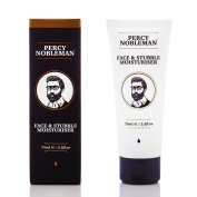 Face and Stubble Moisturiser by Percy Nobleman 75ml. A Moisturising Facial Treatment Cream for Men. 98% Naturally Derived and Scented with Peppermint & Cucumber. The Ultimate Non-Greasy Lotion That Moisturises and Softens Your Skin & Facial Hair.