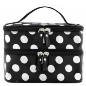 SupplyEU Polka Dots Pattern Double Layer Dual Zipper Makeup Case Cosmetic Hand Bag Tool Storage Toiletry With Mirror