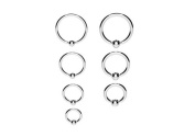 Surgical Steel Ball Closure Captive Ring BCR, Lip Nose Ear Tragus Septum Ring SILVER (1.0mm