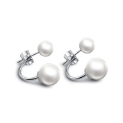 Elegant 925 Sterling Silver Freshwater Cultured Pearl Front Back Stud Earrings