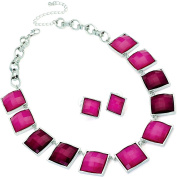 Two tone fuchsia pink silver necklace earring costume jewellery set