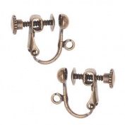 Forever Yung Screw Back Non-Pierced Earring Findings, Antiqued Brass