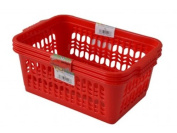 Wham Red Set of 3 Medium Plastic Handy Fruit Vegetable Basket Kitchen Office Storage