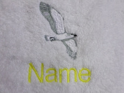 Hand Towel, Bath Towel or Bath Sheet Personalised with a SEAGULL logo and name of your choice