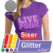 SISER GLITTER Heat Transfer Vinyl (Tshirt HTV) 50cm x 30cm - SILVER