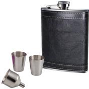 240ml Black Leather Hip Flask With 2 Cups & Funnel Hip Flask Set Gift Set Prime Homewares®