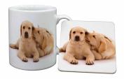 Yellow Labrador Dogs Mug and Table Coaster, Ref:AD-L51MC