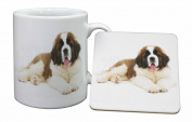 St Bernard Dog Mug and Table Coaster, Ref:AD-SBE5MC