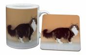 Norwegian Forest Cat Mug and Table Coaster, Ref:AC-40MC