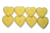 Set of 8 Romantic Heart Shaped Scented Tealight Fragrance Aroma Decorative Candles [Yellow Lemon Fragrance]