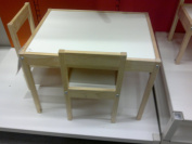 IKEA Children's Table With 2 Chairs in Solid Beach With White Table Top.