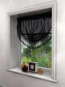 PLAIN BLACK SWAG LUXURY MACRAME PELMET SWAG MACRAME FRINGE TASSEL VALANCE DRAPES VOILE NET WINDOW DECOR