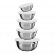 King Marie S6731S Set of 5 Bowls with Plastic Lids Stainless Steel