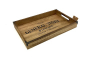 Rustic Vintage Wooden Serving Tray. Distressed General Store Design. Shabby Chic