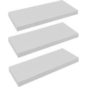 Harbour Housewares Pack of 3 Floating Wooden Wall Shelves 60cm - White