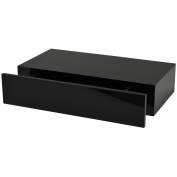Duraline Floating Wall Shelf with Drawer, Black, 100 x 48 x 25 cm